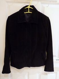 Black suede jacket - real leather - New Look - Size 8