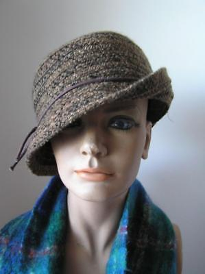 Women's August Brown Knit Fedora Slouch Hat one size
