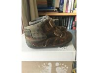 CLARKS FIRST WALKER BABY SHOES (brown real leather material) size 3.5 UK size