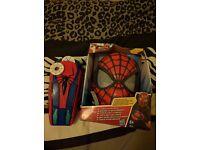Spiderman mask and motorised web blaster