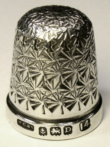 "Antique English Sterling Silver Thimble  Pinwheel  ""THE SPA""  Hallmarked   D1928"