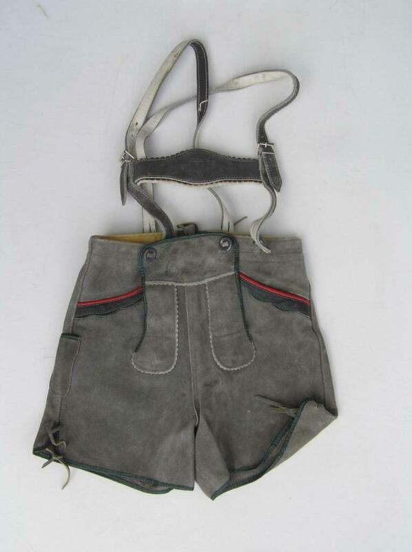 Vintage German Austrian Boy Child Lederhosen Shorts with Suspenders Moose 5T