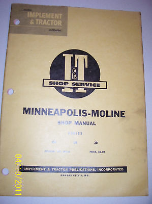 Vintage Minneapolis Moline Serv Manual-gb-ub-zb Tractor