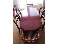 Mahogany Dining Table + 8 Chairs
