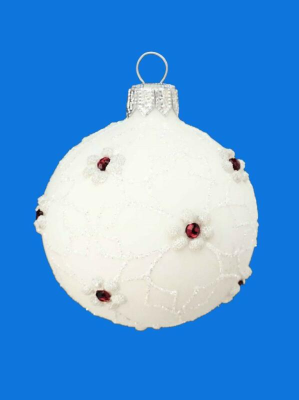 6cm ANGELINA WHITE BALL RED RUBY EUROPEAN BLOWN GLASS CHRISTMAS ORNAMENT 086