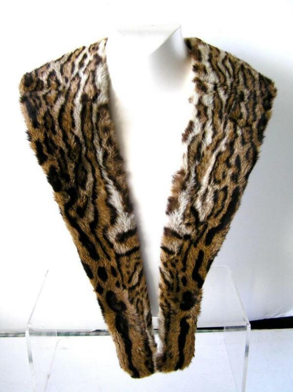 Vintage Faux Ocelot Fur Collar Stunning!