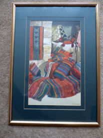MIDDLE EASTERN BEDOUIM THEME FRAMED PRINT OF TENT FURNISHINGS