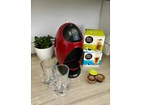 Pristine condition Nescafe Dolce Gusto machine complete with latte glasses & 15 drinks worth of pods