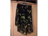 Black/yellow asymmetrical skirt S/34/36
