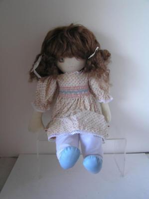 "Vintage Cloth Doll by Pauline Bjonness Jacobsen 19"" Brunette Pink Smocked Dress"