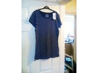 Bran new Blue and White Spots Top Size 14.