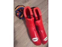 BUNDLE - 2 suits, 4 pairs boots, 3 gloves, 3 protects, 2 crotch, 1 head protector & 54 belts
