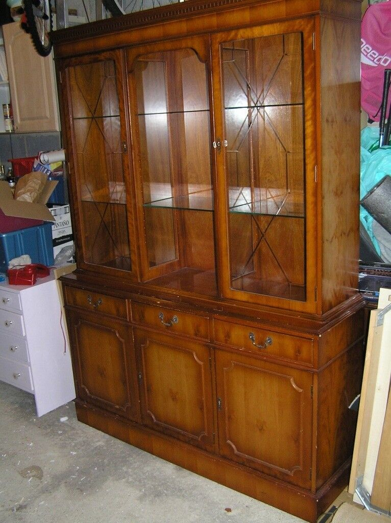 Yew Display Cabinet/Sideboard