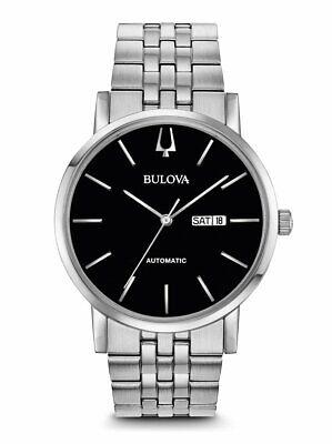 Bulova Men's Automatic Calendar Day-Date Black Dial SilverTone 42mm Watch 96C132