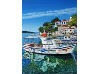 Skiathos Town Harbour A3 Giclee limited edition print
