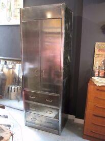 Vintage Industrial Polished Steel Metal Cabinet / Larder Kitchen Cupboard Steel