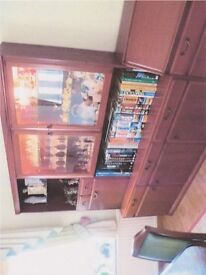 Light Mahogany sideboard with lighted glassdisplay cabinet and drinks storage