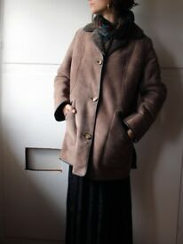 Beautiful soft designer sheepskin coat - Handmade by POLDEN in Glastonbury - size 10/12