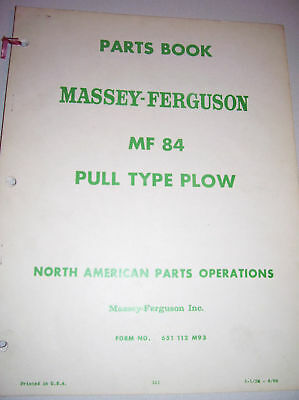 Vintage Mf Parts Manual-mf 84 Pull Type Plow