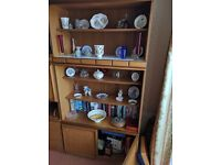 Teak wood tall display cabinet with low level cupboard and four shelves