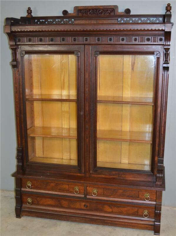18765 Victorian Walnut Step Back Bookcase with Gallery