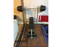 FITNESS BENCH WITH BAR/WEIGHTS