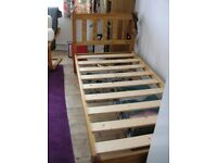 Single wooden bed frame and choice of two mattresses 6'x3'