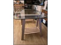 Glass Table Top with Adjustable IKEA Trestle Shelf Legs