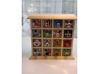 Spice, Trinket or Craft Chest with 16 hand-painted ceramic drawers