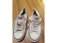 Converse shoes/trainers. UKSize 8. Used. White leather upper.
