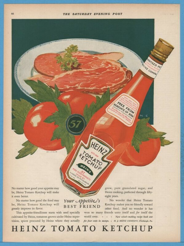 1927 Heinz 57 Ketchup Pittsburgh PA Tomato Art 1920s Food Kitchen Decor Print Ad
