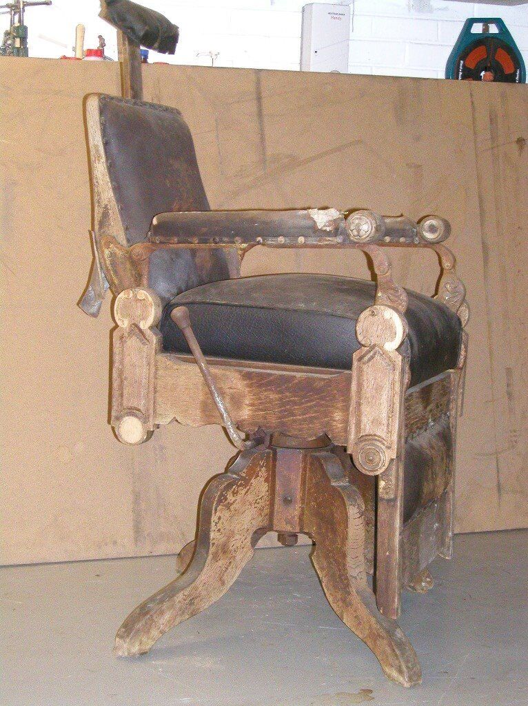 Antique 1890u0027s Theo A Kochu0027s Barber Chair For Restoration