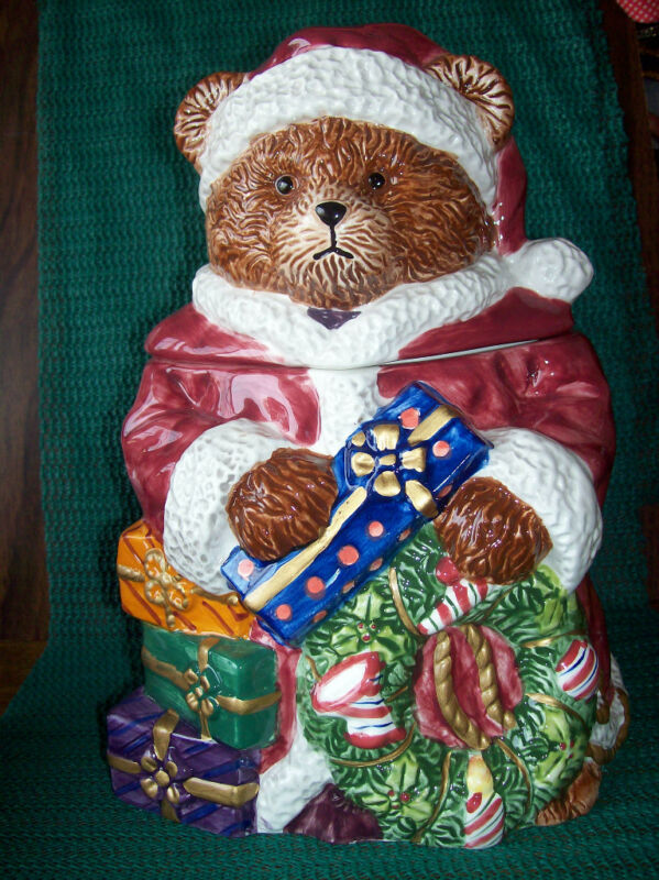 "9 1/2"" Cookie Jar In Orig. Box -Ceramic Santa Bear Is Holding  Gift & Wreath"