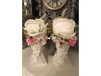 Shabby chic small candlesticks with flowers