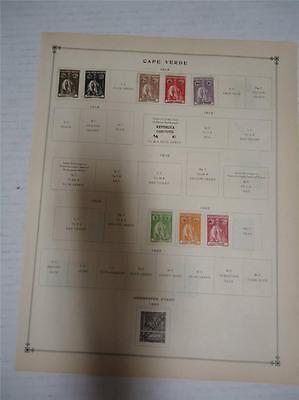 Vintage Cape Verde Postage Stamps 1914-1922 On Page Lot of 12