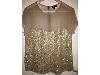 Topshop Gold Sequinned Top