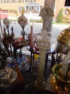 COLONNE MARBRE (ALBÂTRE) PUR AVEC LAMPE MARBRE, TOUTE BEAUTÉ