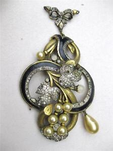 RARE Antique ART DECO Enamel Pave Rhinestone Glass Pearl Necklace Pendant TLC