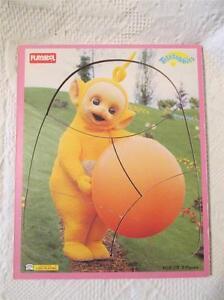 Teletubbies-Wood-Frame-Tray-Puzzle-Playskool-629-03-Wooden-Yellow-Laa-Laa