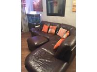 Leather DFS Brown Corner Sofa
