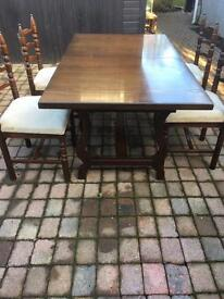 Oak dining table & 4 high back chairs