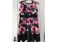 Black floral dress, size 14, still has tags,£10