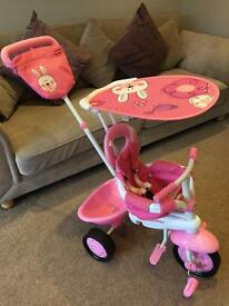 Fisher price girls smart trike in pink with bunny design