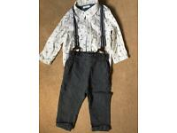 Boys Next 12-18 month smart outfit - trousers, shirt and braces