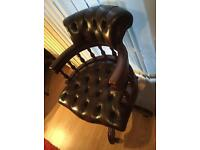 Captains chair - antique - solid leather