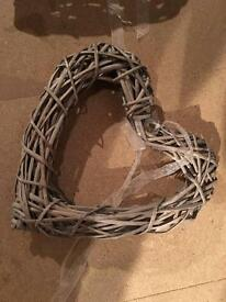 3 large hanging wicker hearts