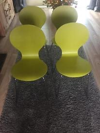 4 x Apple Green Table Chairs
