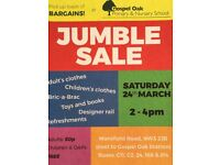 Jumble Sale Saturday 24 March 2pm-4pm Gospel Oak School NW3 2JB