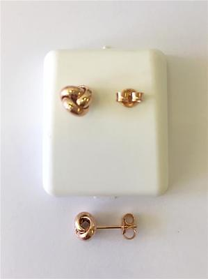 14K Rose Gold Love Knot Stud Earrings With Push Back Posts Italy
