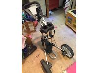 Upright caddy golf trolley